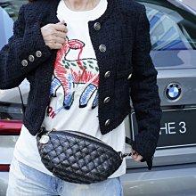 Chanel AS0836 Chanel Bi Quilted Waist Bag 小牛皮格紋鍊帶腰包 黑 現貨