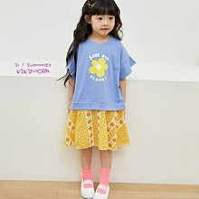 【現貨90-140】韓國童裝 正韓 kikimora 夏日荷葉袖印花拼接洋裝