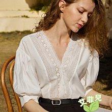法式花邊泡泡袖襯衫~~艾菲兒=現貨、韓版、預購