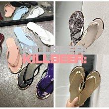 KillBeer:身為名媛的自傲之韓國代購復古歐美經典chic搖滾金屬滾邊光澤漆皮夾腳拖鞋涼鞋 純色/豹紋A072403