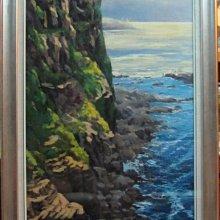 古藝閣  近代台灣著名畫家林聰明大師真跡作品 作品名稱鼻頭浪濤  特價