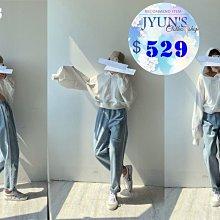 JYUN'S 新款連帽上衣大燈籠袖白色長袖衛衣帽T 1色 現貨