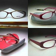 【信義計劃眼鏡】miu miu 光學眼鏡 公司貨 咖啡色紅色彈簧膠框 搭配褲子皮夾皮包T恤