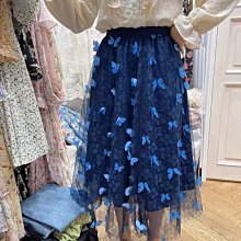 BOSHOW 韓國連線 正韓 立體刺繡蝴蝶雙層網紗半身裙