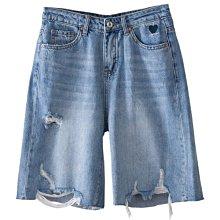 歐單 新款 街頭時尚 磨破做舊破洞 舒適透氣 寬鬆薄款 柔軟水洗直筒五分牛仔褲 短褲 (T1226)