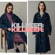 KillBeer:代購✈✈日本品牌MOUSSY歐美復古氣質簡約英倫排扣翻領純色丹寧牛仔裙長裙風衣外套111808