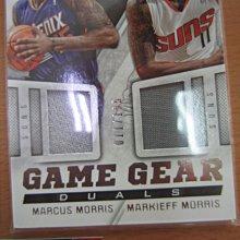 網拍讀賣~Markieff Morris/ Marcus Morris~太陽隊球星~簽名卡~同背號~限量雙人球衣卡~RC