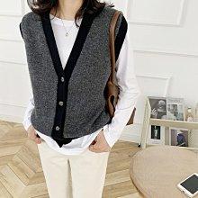 NANAS【A08197】這個季節超需要~chic韓國復古拼色針織開襟背心 特價 預購
