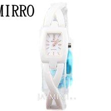 【JAYMIMI傑米】MIRRO 米羅 原廠公司貨 高精密陶瓷 淑女交叉陶瓷手腕錶 特價2890 白色