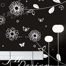 J.H壁貼☆H300閃亮花房-花鳥系列☆牆壁玻璃櫥窗貼紙壁紙 餐飲咖啡廳 公司 補習班 遊戲室 電視牆床頭沙發背牆貼紙
