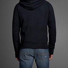 ☆瘋米國衣舖☆ Abercrombie&Fitch 海軍藍 男生拉鍊連帽外套 A&F AF 經典 美式 休閒 帽T 貼布