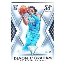 低限量34張銀亮!(RC) 黃蜂核心 Devonte Graham 磐石Titanium Drafted Rookie版新人RC卡 2018-19
