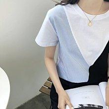 NANA'S【AS60611】設計感~chic韓國撞色吊帶拼接小眾T恤 特價 現貨/預購