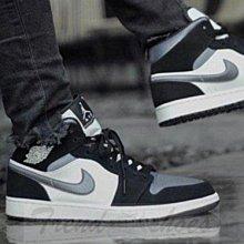 Nike Air Jordan 1 Mid AJ1 復古 高幫 黑藍灰 百搭 運動 籃球鞋 852542-011 男鞋
