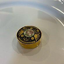 Vintage 西洋古典西班牙大馬士革玫瑰金色鑲嵌 飾品盒 首飾盒 藥盒 隨身盒
