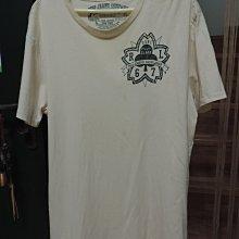 男裝POLO JEANS COMPANY 米白色短袖T恤上衣 綠色絹印圖騰made in china 100%棉 尺寸M