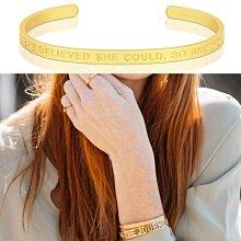 MANTRABAND SHE BELIEVED SHE COULD 寬版霧面金色手環 她相信她可以