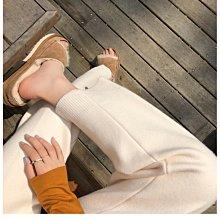NANAS【O1028】百搭奶奶褲~chic韓國秋冬厚實休閒燙經線直筒針織褲 預購