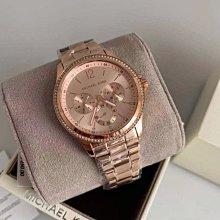 MICHAEL KORS MK6656 玫瑰金 不銹鋼錶帶 石英 三眼計時腕錶 MK女錶
