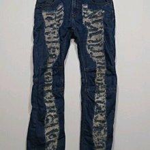 專櫃品牌 TOUGH Jeansmith 牛仔褲 直筒 重磅破壞  特殊造型款-男款-藍-32【JK嚴選】皇后的品格