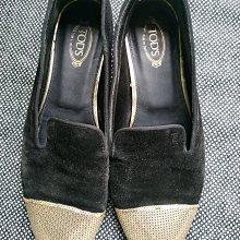義大利品牌 Tods 黑色金色絨布豆豆鞋樂福鞋平底鞋 Made in Italy