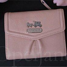 美國真品 Coach Wallet 麥迪遜馬車LOG粉橘色真皮證件ID中夾短夾皮夾可放零錢照片 免運費 愛Coach包包