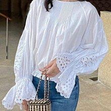 【妖妖代購】Chole 21春夏新款白色鏤空喇叭袖純棉上衣
