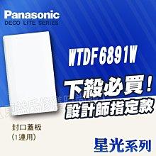 WTDF6891W一連封口蓋板 無孔封口蓋板 盲蓋 星光 Panasonic國際牌 月光系列【東益氏】 另售中一電工熊貓