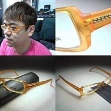 【信義計劃眼鏡】PRADA 光學眼鏡 公司貨 義大利製橘色膠框方框 搭配皮帶皮包香水皮夾