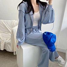 連帽T恤 兩件套顯瘦螺紋減齡運動套裝 糖果色系連帽外套+高腰休閒褲 艾爾莎【TAE8718】