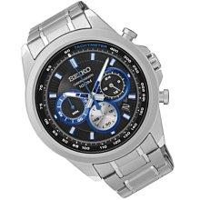 【金台鐘錶】SEIKO 精工 競速計時腕錶-黑藍三眼計時/45mm SSB243P1 SSB243