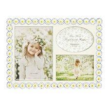 日本Ladonna 白色小雛菊金屬三格相框/ BJ11-30/ 可放2X3和3X5相片