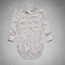 美國 Abercrombie & Fitch A&F 女裝JANE SHIRT S號石頭色氣質絢長袖柔軟襯衫含運在台現貨