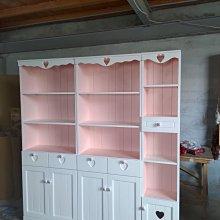戀戀小木屋 粉色書櫃 原木櫃