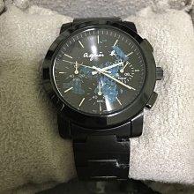 [出清]Agnes.b 黑色 藍地圖 限量 三眼 手錶