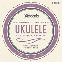 D'Addario EJ99SC Soprano Concert 21、23吋 烏克麗麗弦 - 【黃石樂器】