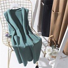 BEFE時尚精品 韓版經典 氣質修身 針織中長款背心 米/駝/黑/綠色