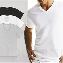 Calvin Klein CK卡文克萊V領純棉短袖長衛生衣內衣黑灰白色三件一組 S M L XL號 愛COACH包包