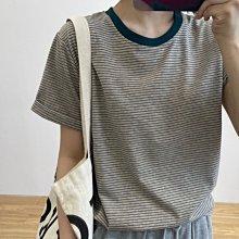 NANAS【N05312】日系小清新~chic韓國捲邊袖撞色領口條紋T恤 特價 預購