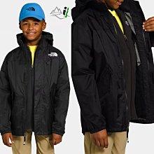 「i」【現貨】The North Face 黑 STORMY Rain 小孩 兩件式 保暖防水透氣 連帽 風衣夾克