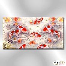 【放畫藝術】九如魚063 純手繪 油畫 橫幅 紅白 暖色系 工筆 招財 求運 開運畫 客廳掛畫 事事如意 年年有餘