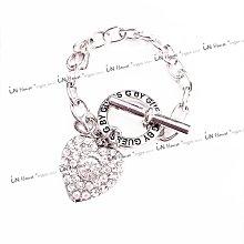IN House* 美國 Rock 搖滾風 閃亮 水鑽 大愛心 造型 吊墜 手鍊 手鏈 手環 OT釦 銀色