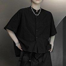 ►DR.DESIGN│DR32615-暗黑 日系 寬鬆 不規則 明線撞色 薄棉 立領短袖襯衫 黑/白