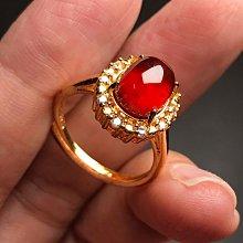 天然石榴石戒指 紅石榴石925銀鍍金鑲鑽鋯石活圍戒指 飾品配件《舒唯水晶》母親節禮物