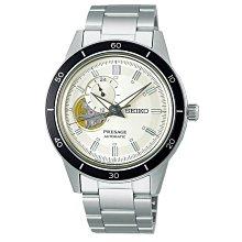 【台南 時代鐘錶 SEIKO】精工 PRESAGE 復刻60年代 SSA423J1 鏤空機芯 鋼錶帶 機械男錶 白