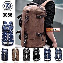 潮流好皮  正品MANKOO-3506圓筒帆布韓版背包 英倫學院風書包 情侶包多功能雙肩包旅行包水桶包行李包