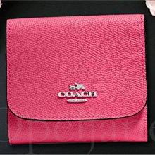 原廠包裝 Coach 桃紅色粉紅色藍色 防刮真皮 零錢包 證件夾信用卡片夾名片夾 悠遊卡車票夾 小皮夾中夾短夾 可放紙鈔