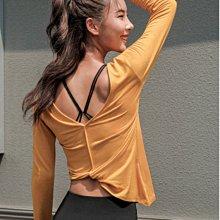 愛運動~性感不規則健身運動休閒長袖t恤/正反2穿美背彈力修身顯瘦排汗速乾/瑜伽跑步訓練美背罩衫   R3214