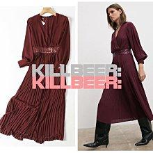 KillBeer:漂丿的都市名媛之 歐美復古絕美奢華氣質女神勃根地酒紅皮革拼接V領百褶裙雪紡長洋裝連身裙B012007