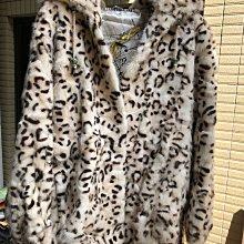 100%頂級水貂毛 豹紋款收腰連帽貂皮短大衣